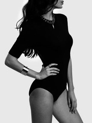 Black Backless Half Sleeve Bodysuit
