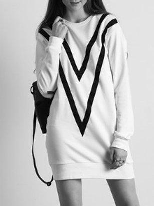 Off White Black Trim Sweatshirt Dress