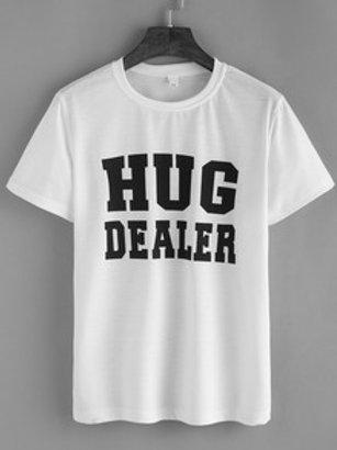 Letter Print White T-Shirt (Hug Dealer)