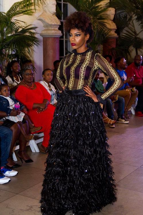 Broom Skirt & Sheer Lace Bodysuit