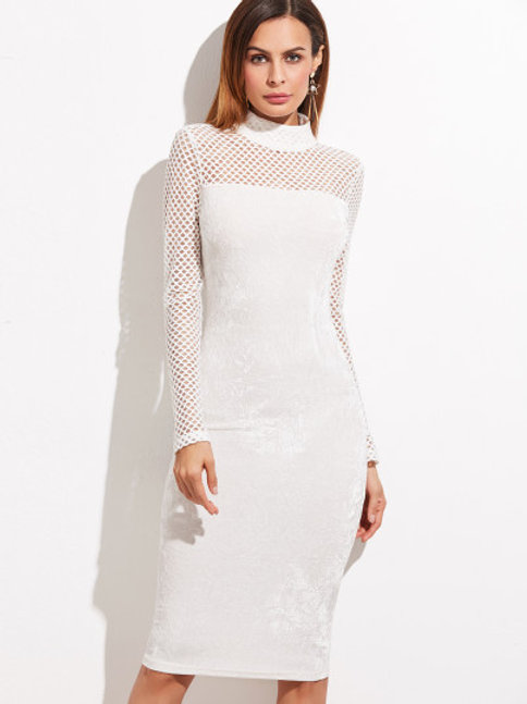 White Velvet Pencil Dress