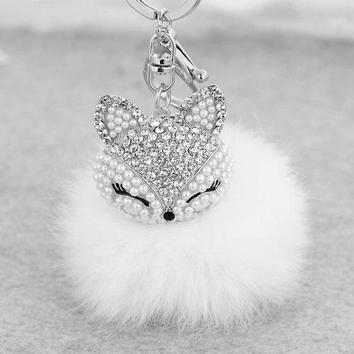 Cute Fox Fur Pearl Rhinestone Pom Pom Ball