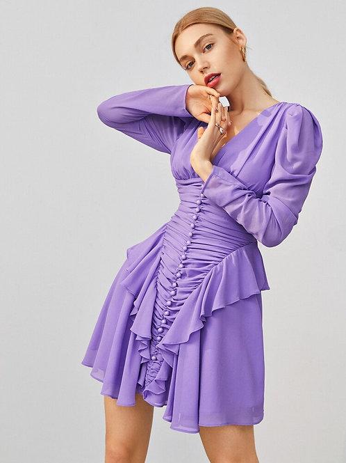 Gigot Sleeve Chiffon Dress