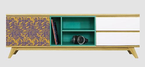 Mueble de TV Pájaro y Flores por María Elina Méndez