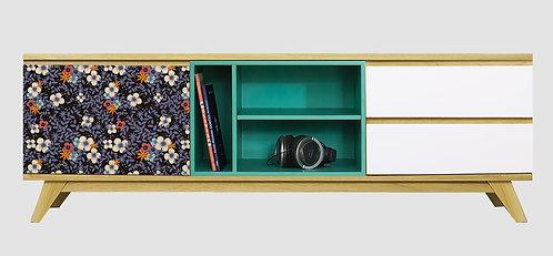 Mueble de TV Flores Violetas por María Elina Méndez