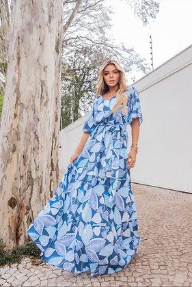 PRÉ VENDA - Vestido blue leaf longo m/c