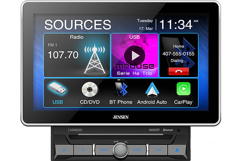 """CAR8000 10.1"""" CD/DVD Multimedia Player with CarPlay and Android Auto"""