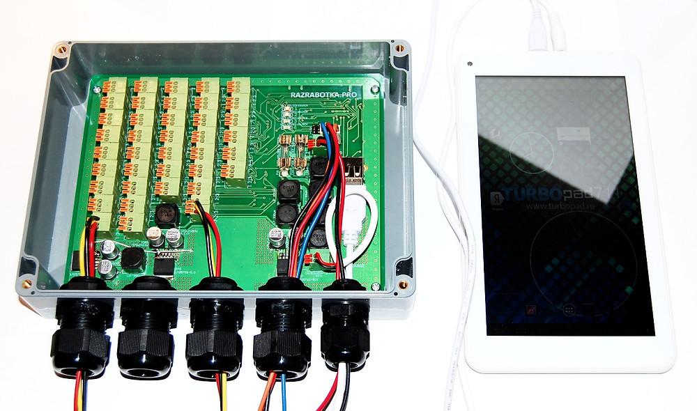 Разработка электронных измерительных приборов, Многоканальный амперметр с подключенным планшетом на Android