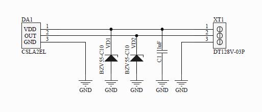 Разработка электронных устройств, Схема подключения изолированного датчика тока с пределом 200-500А