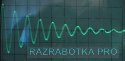 Разработка электроники и электронных устройств для дарсонвализации, осциллограмма затухающих колебаний в колебательном контуре прибора «Дарсонваль»