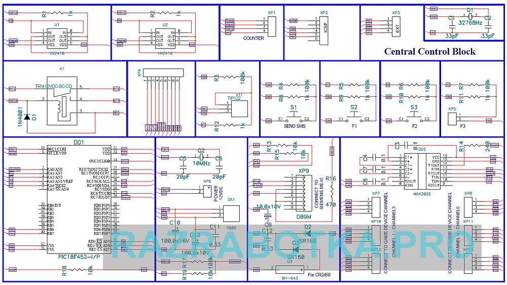 Разработка электроники на заказ, Игровой автомат с системой «Джек Пот» и GSM-блоком дистанционного управления и контроля, Принципиальная схема центрального блока управления