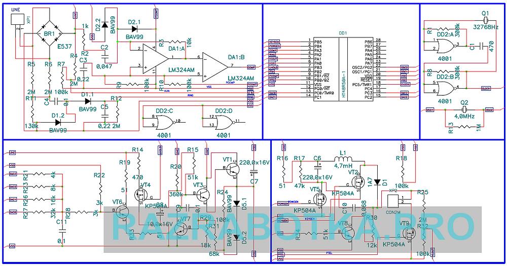Разработка электронных устройств на заказ, АОН-приставка NEO PLUS (NEO+) - конвертор в стандарт Caller ID (CLIP) для импортных телефонов, Принципиальная схема