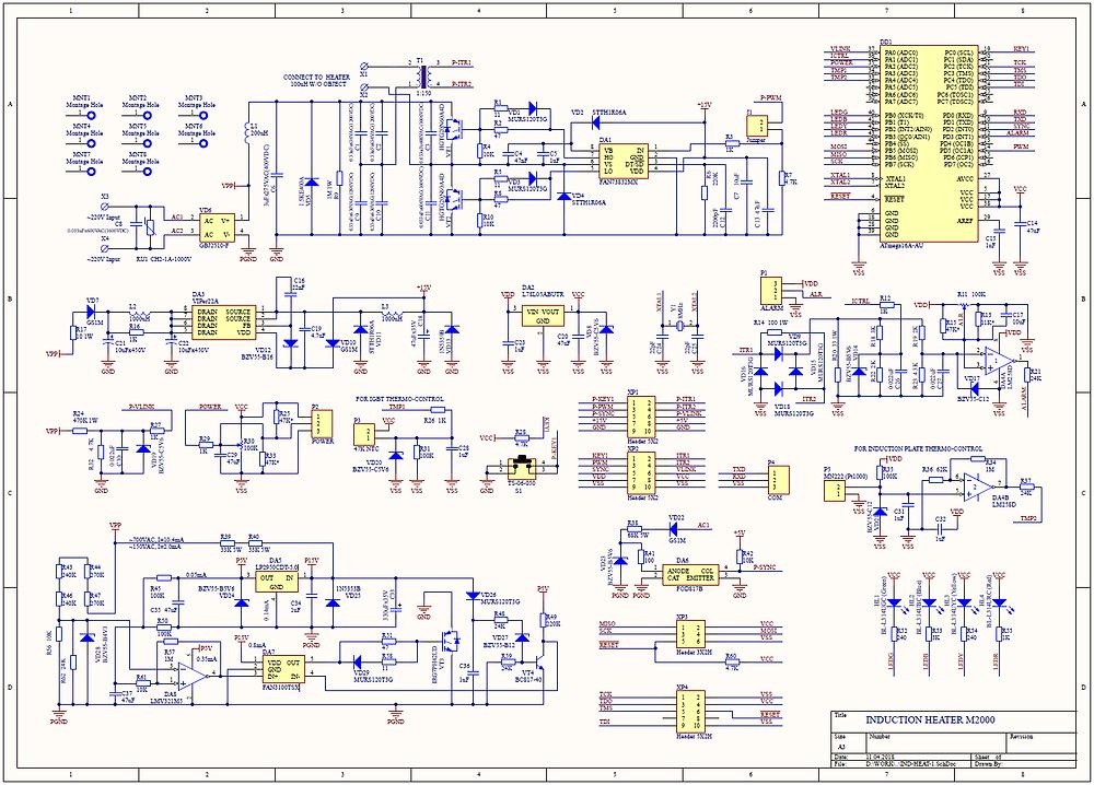 Разработка электроники, Принципиальная схема индукционного нагревателя на 220В с плавной регулировкой мощности до 2000Вт