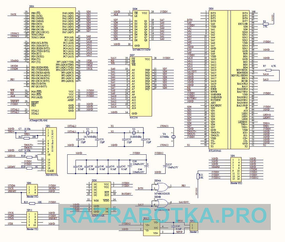 Разработка электронных устройств на заказ, Принципиальная схема Web-сервера на микроконтроллере Atmel AVR ATmega128
