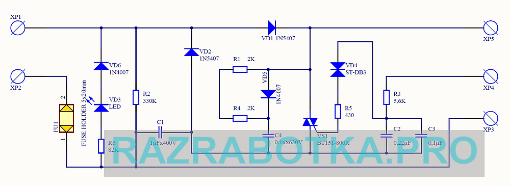 Разработка электронных схем на заказ, принципиальная схема прибора «Дарсонваль»