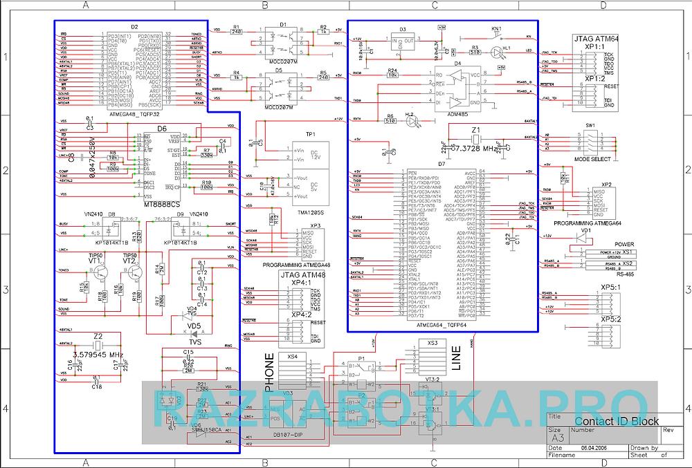 Разработка электронных устройств на заказ, Передатчик сообщений от охранных систем по протоколу Ademco Contact ID, Принципиальная схема