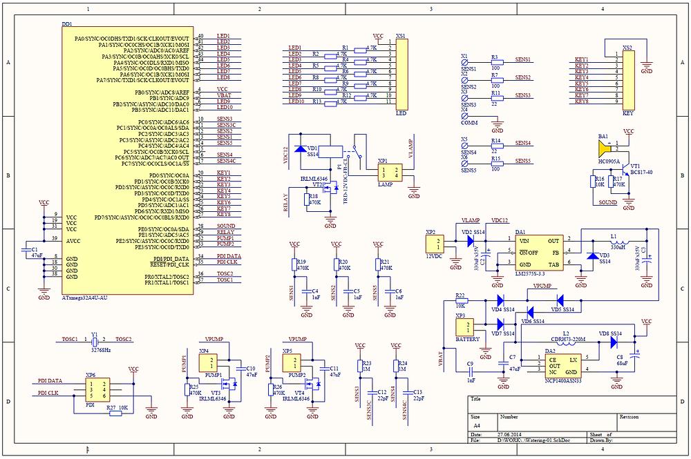 Разработка электроники на заказ, принципиальная схема системы выращивания растений
