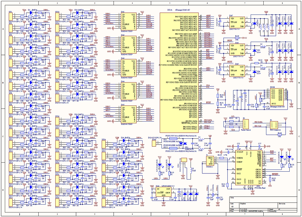 Разработка электроники для измерительных приборов, Принципиальная схема многоканального амперметра с током измерения до 500А