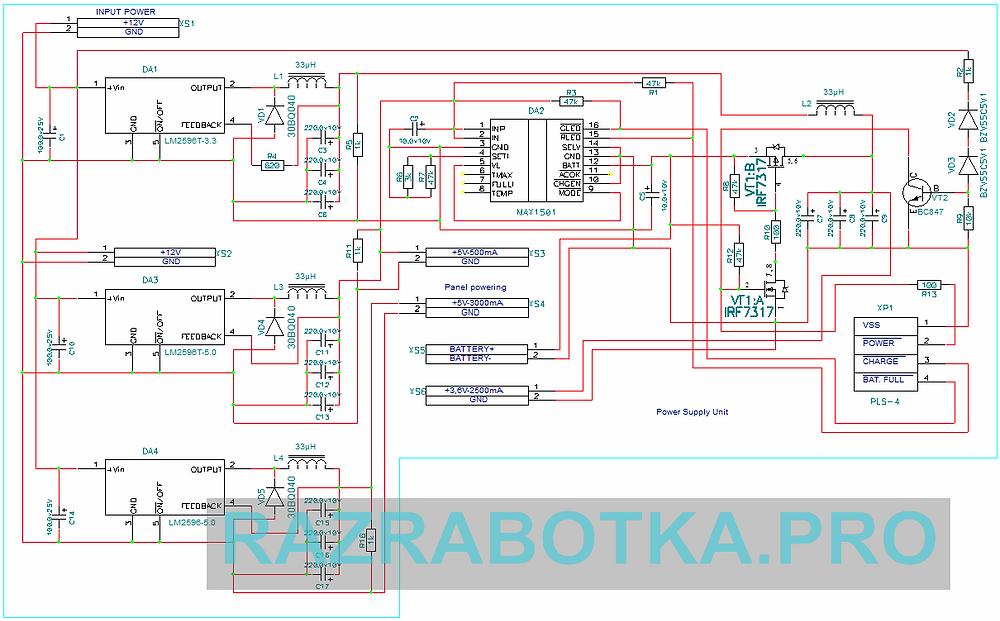 Разработка устройств электронной техники, блок питания для торговых автоматов и платежных терминалов, принципиальная схема