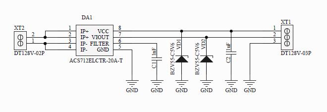 Разработка электроники, Принципиальная схема изолированного датчика тока с пределом 20А