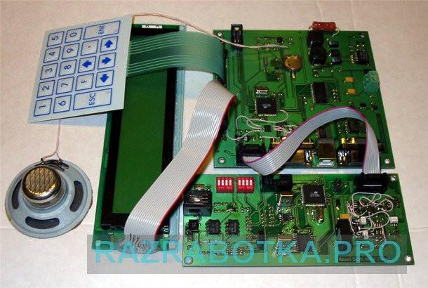 Разработка и изготовление электронных устройств, Станция приема сообщений от охранных систем по протоколу Ademco Contact ID, Внешний вид отладочного макета