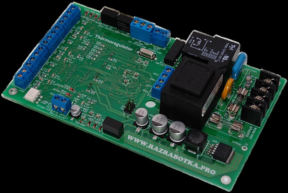 Разработка электронной техники, Терморегулятор с дистанционным управлением, Вид платы сверху