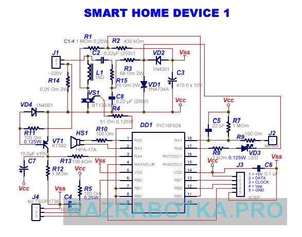 Разработка электронных схем и печатных плат, Многофункциональное устройство управления домашними приборами - электронный сенсорный выключатель с дистанционным управлением и адресацией команд, Принципиальная схема SHD1