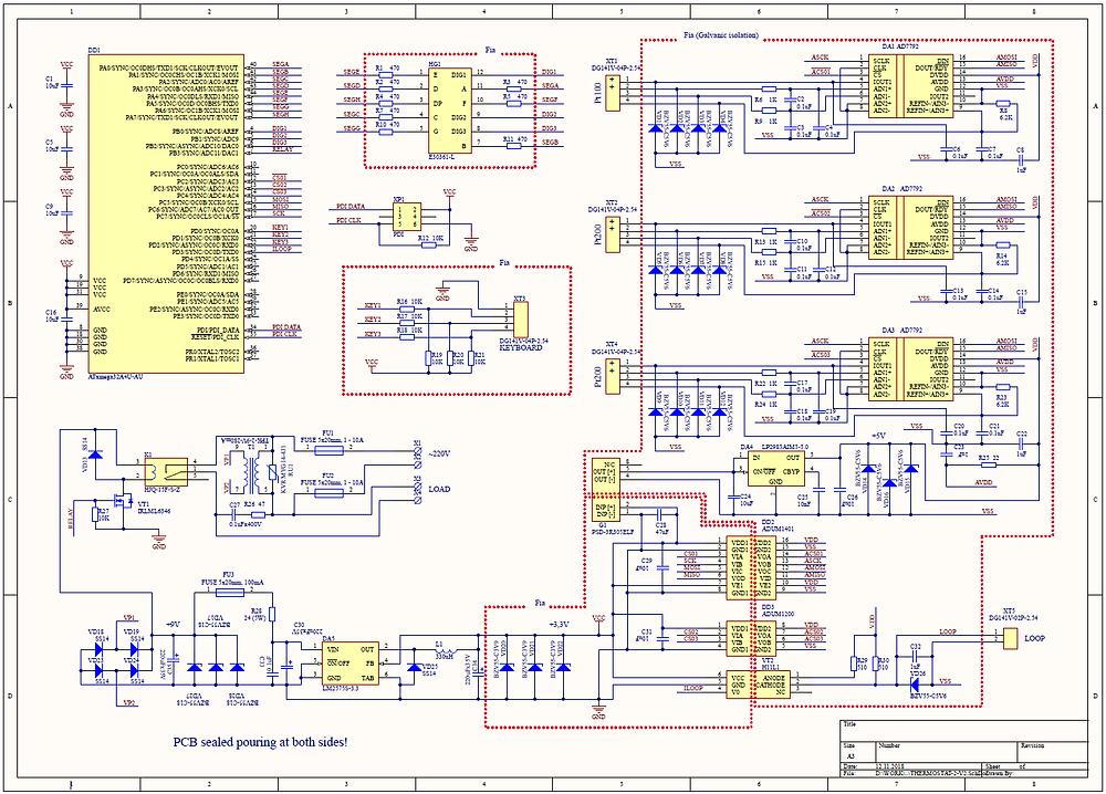 Разработка электронных приборов, принципиальная схема терморегулятора (термостата) с платиновыми датчиками