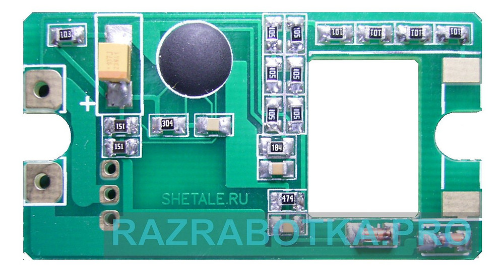 Разработка электроники и изготовление устройств на заказ, Электронное устройство защиты ламп освещения с автоматическим отключением индуктивной нагрузки, Печатная плата с бескорпусным кристаллом микроконтроллера