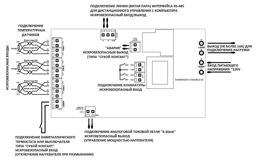Разработка электроники, схема внешних подключений к терморегулятору