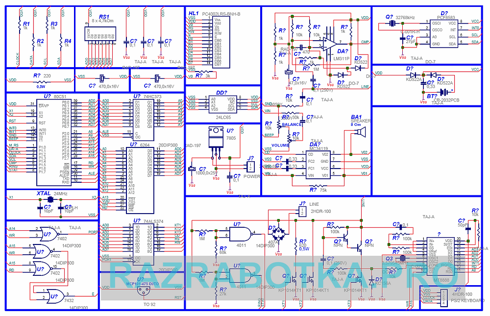 разработка электронных устройств на заказ, Коммуникатор - автоматическое устройство для обмена короткими текстовыми сообщениями по телефонной линии, Принципиальная схема