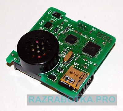 Разработка электронных схем и печатных плат, детская игрушка - говорящий кубик с акселерометром, внешний вид верхней стороны печатной платы