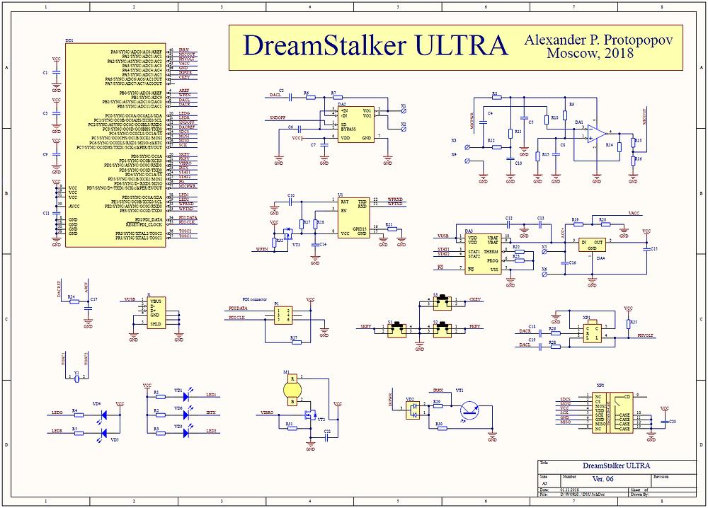 Разработка электроники, принципиальная схема прибора DreamStalker Ultra