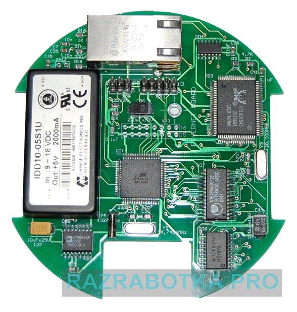 Разработка электронных схем и печатных плат, Внешний вид печатной платы Web-сервера на микроконтроллере Atmel ATmega128
