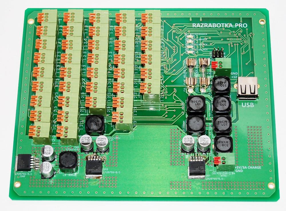 Разработка электроники для устройств измерения тока, Печатная плата многоканального амперметра с током измерения до 500А, вид сверху