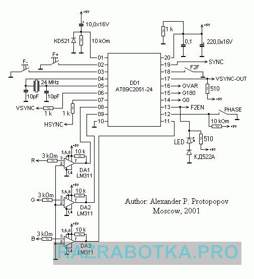 Разработка электроники, Автоматический контроллер для просмотра стереоизображения, Принципиальная схема