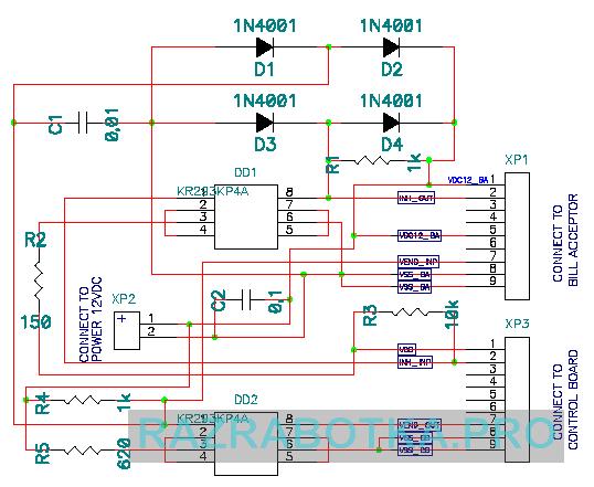 Разработка электронных приборов на заказ, Устройство размена купюр на монеты или жетоны для игровых автоматов, Принципиальная схема модуля гальванической развязки