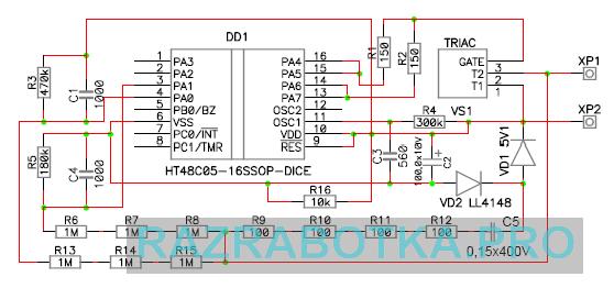 Разработка электронных устройств защиты ламп освещения с автоматическим отключением индуктивной нагрузки, Принципиальная схема 2 (микроконтроллер без корпуса - DICE)