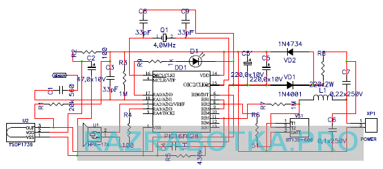 Разработка электронных устройств по техническому заданию, Универсальный сенсорный выключатель с дистанционным управлением, Принципиальная схема