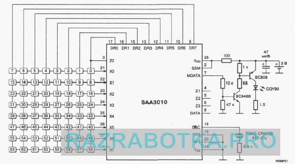 Разработка электронных схем на заказ, Многофункциональное устройство управления домашними приборами - электронный сенсорный выключатель, Принципиальная схема пульта дистанционного управления