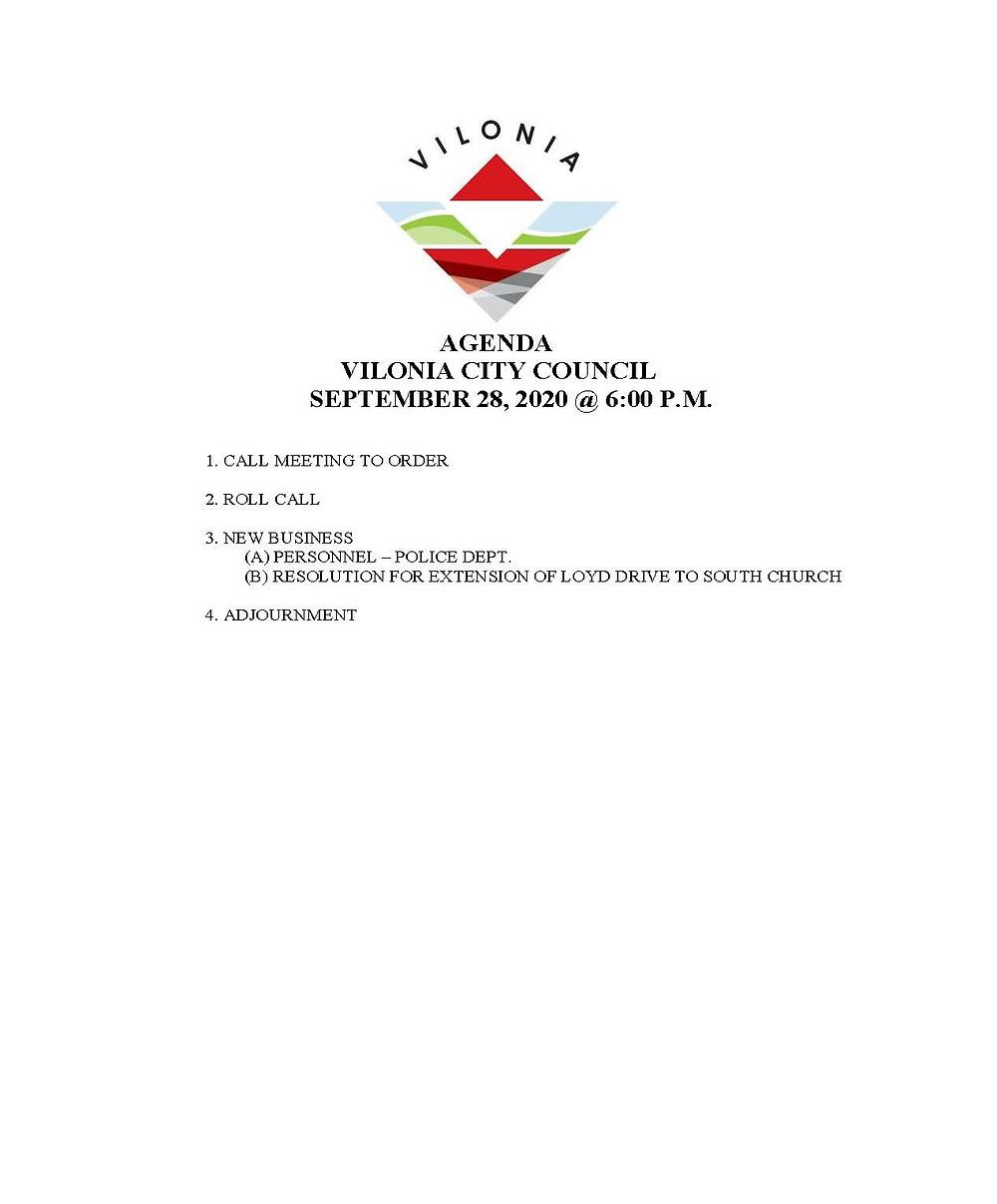 Vilonia City Council Agenda, Special Meeting