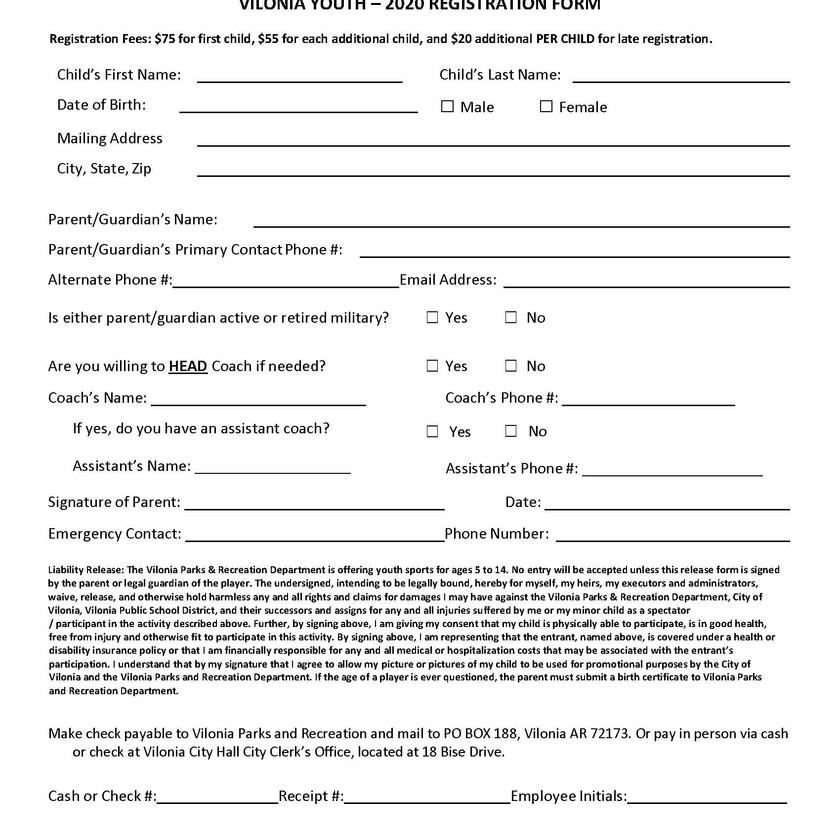 Baseball/Softball Registration Form
