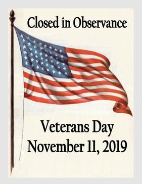 Closed Veterans Day