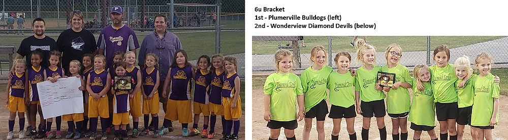 6u: Plumerville Bulldogs (left) and Wonderview Diamond Devils (right)