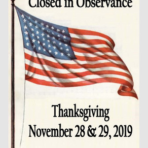Closed in Observance: Thanksgiving
