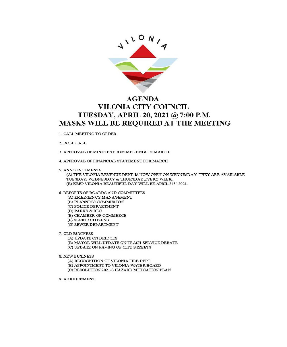 Vilonia City Council Agenda
