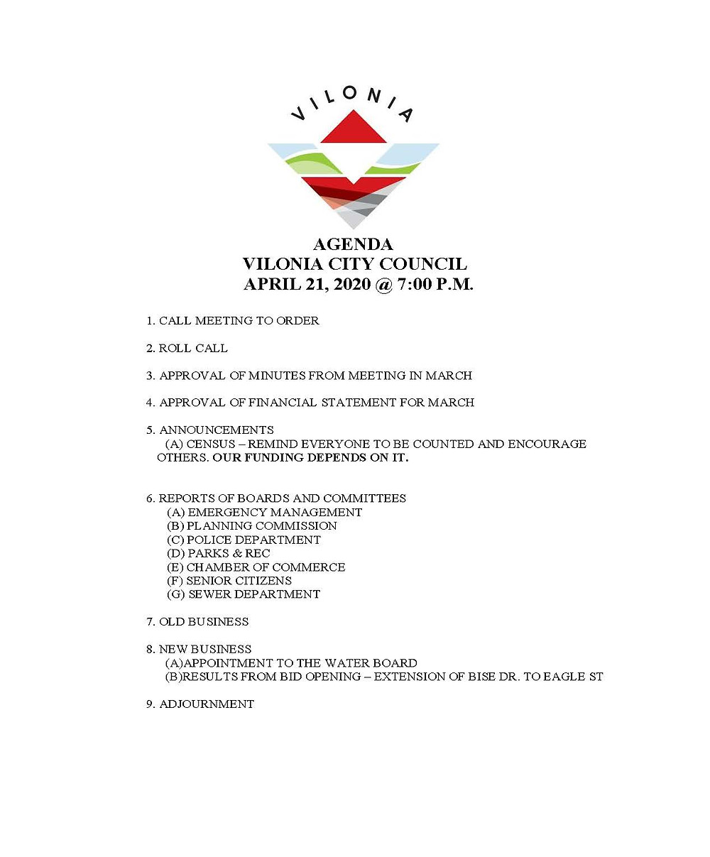 Vilonia City Council Agenda