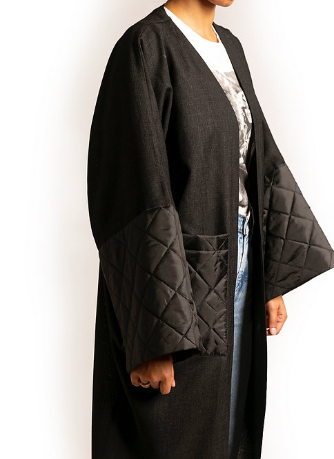Black Quilted Pocket-Sleeve Throw-On