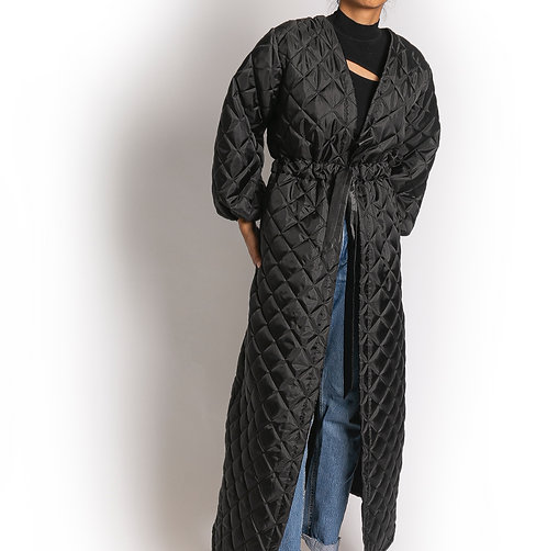Black Quilted Throw-On