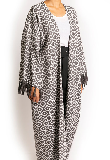 Grey Tribal Print Throw-On